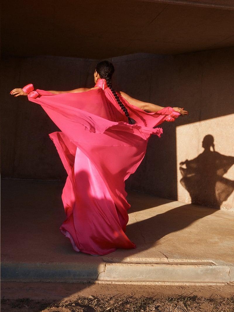 Richard Quinn Cape-Effect Twisted Silk-Satin and Chiffon Gown