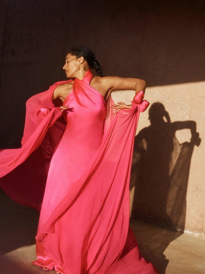 Richard Quinn Cape-Effect Twisted Silk-Satin and Chiffon Gown 1