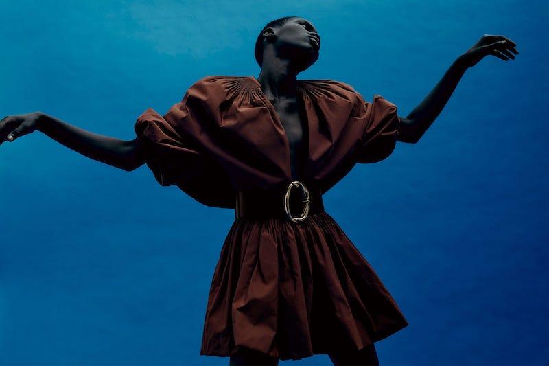 Valentino Caped V-Neck Pleated Cotton-Blend Mini Dress