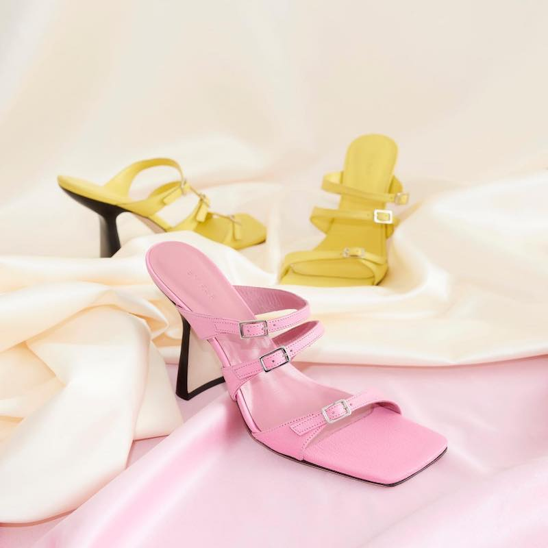 BY FAR x MYTHERESA Malene Leather Sandals in Yellow