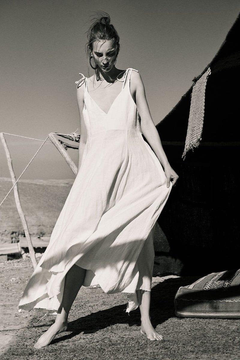 Fil De Vie Tangier Handkerchief-Hem Linen Dress