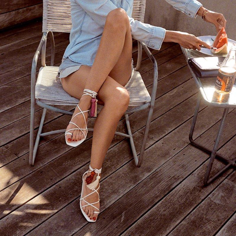 JIMMY CHOO Dusti Flat Latte Nappa Leather Sandals With Sun Mix Tassels