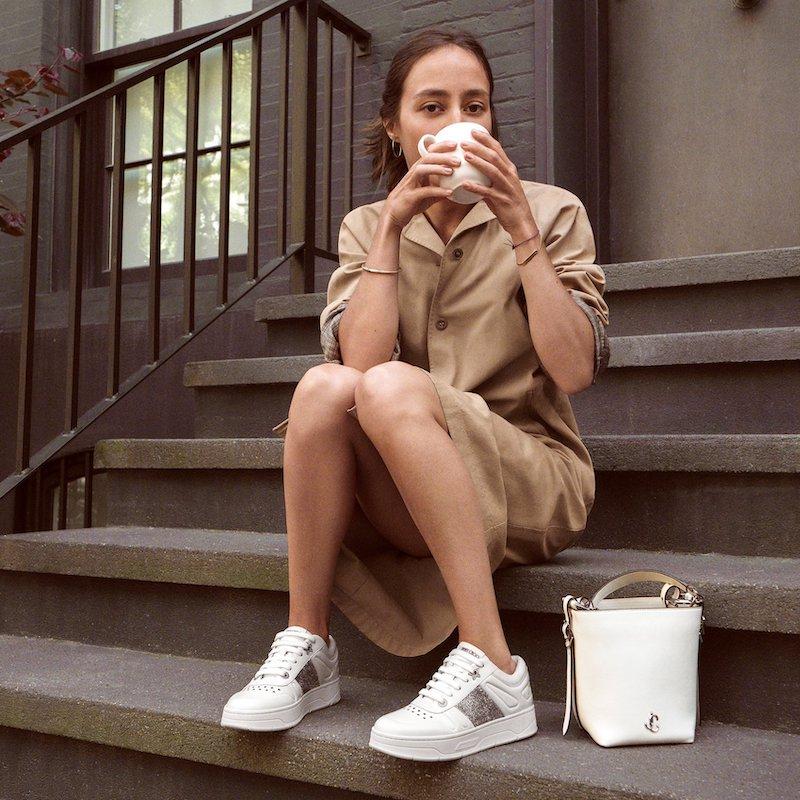 JIMMY CHOO Varenne Bucket/S Latte Calf Leather Bucket Bag With JC Emblem