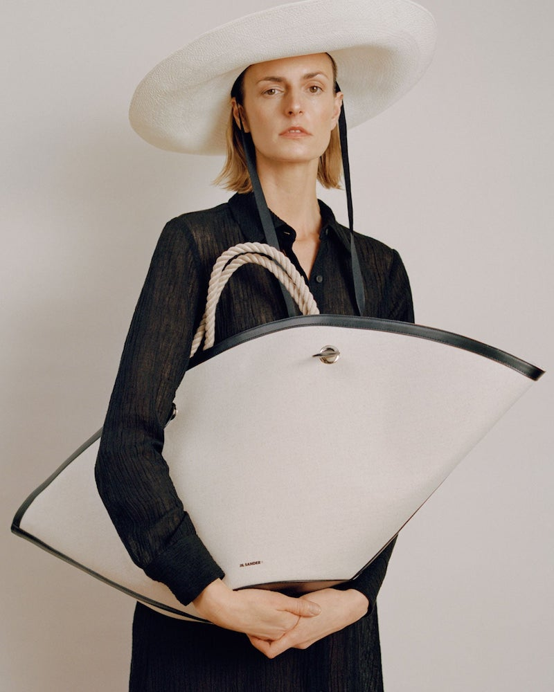 Jil Sander Sombrero Large Rope-Handle Canvas Bag