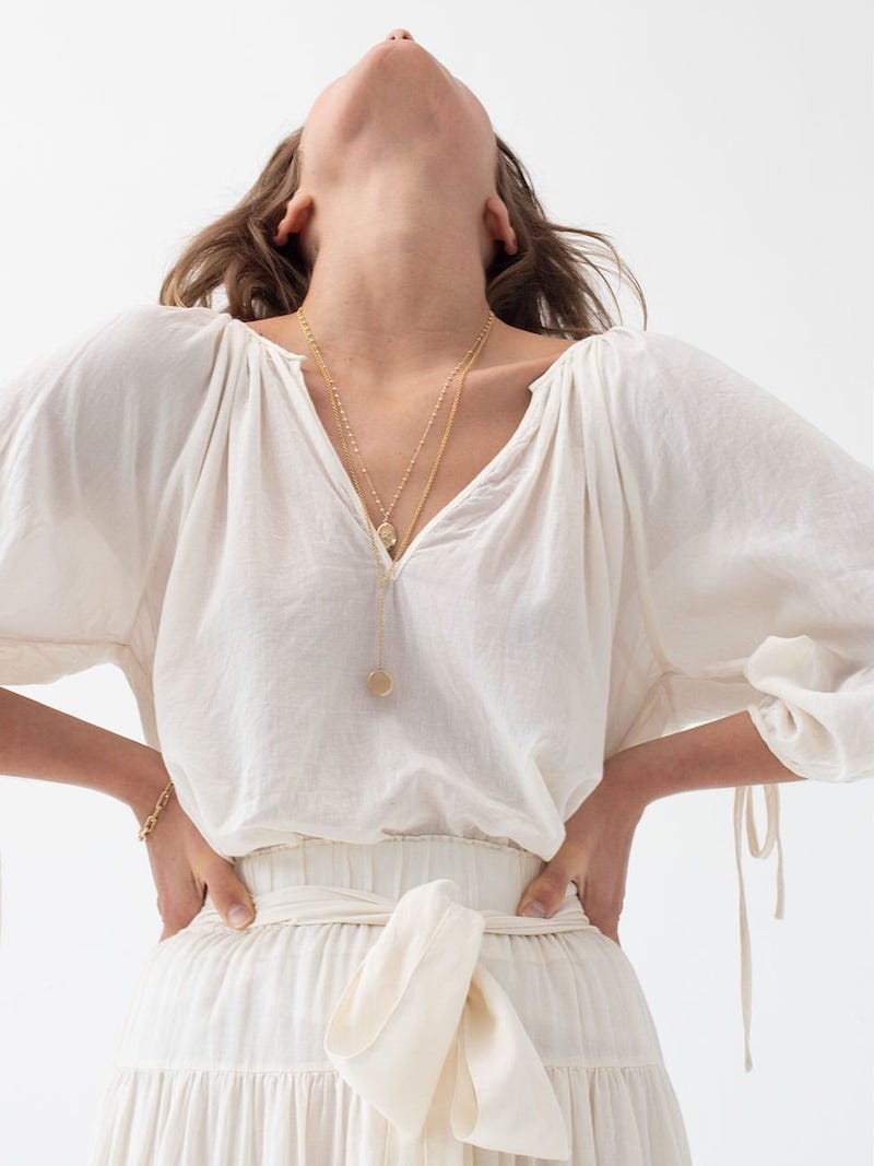 Loup Charmant Capucine Tie-Cuff Cotton Blouse