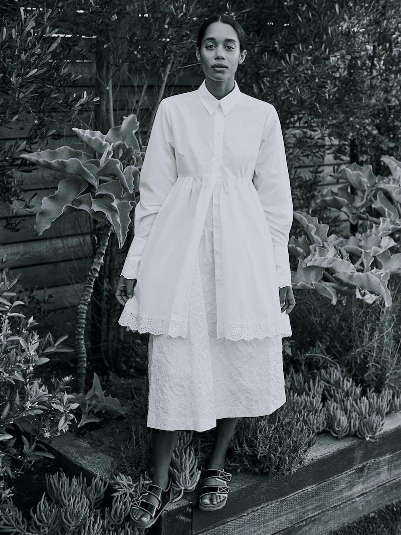 Simone Rocha Ruffled Cloqué Midi Skirt