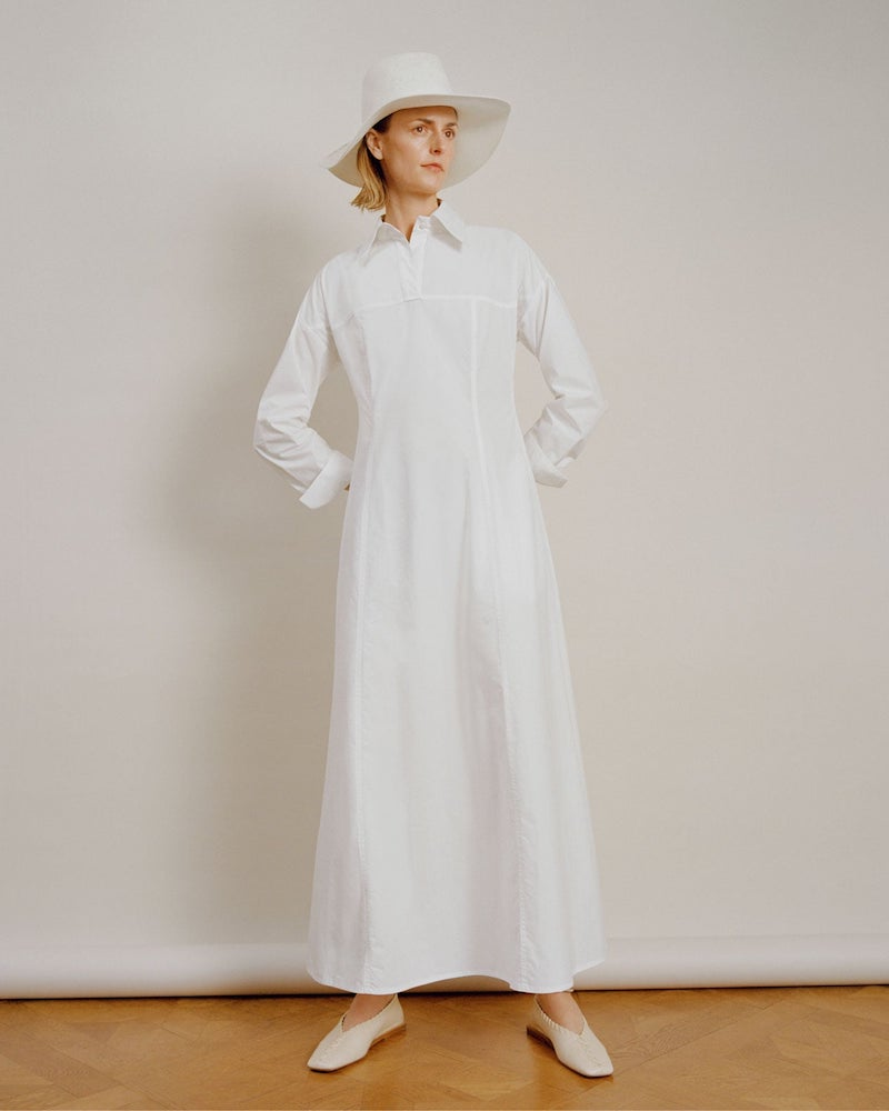 White Story Masquerade Cotton-Poplin Maxi Shirt Dress