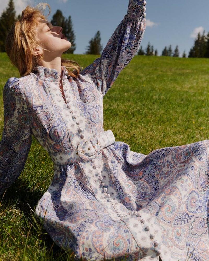 Zimmermann x Mytheresa Paisley Linen Midi Dress