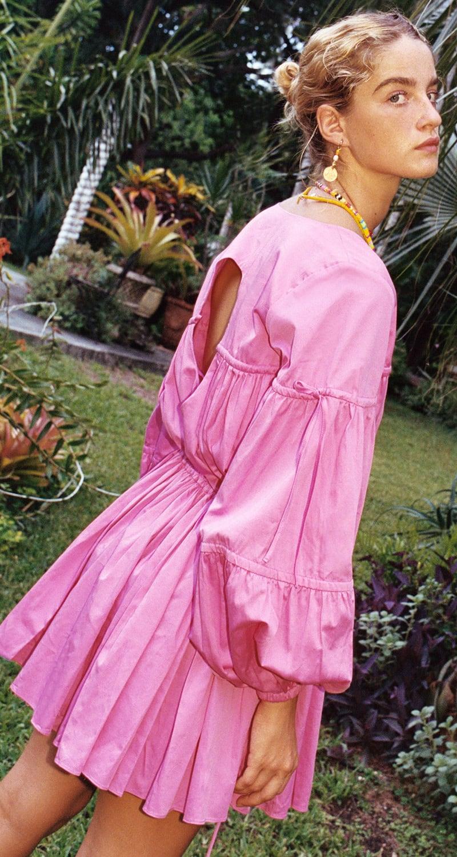 Aje Overture Gathered Cotton-Blend Dress