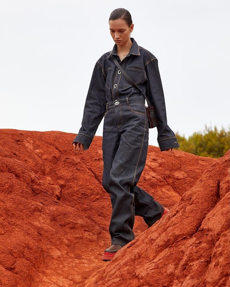 Bottega Veneta Cotton Denim Jeans W/ Metal Buckles