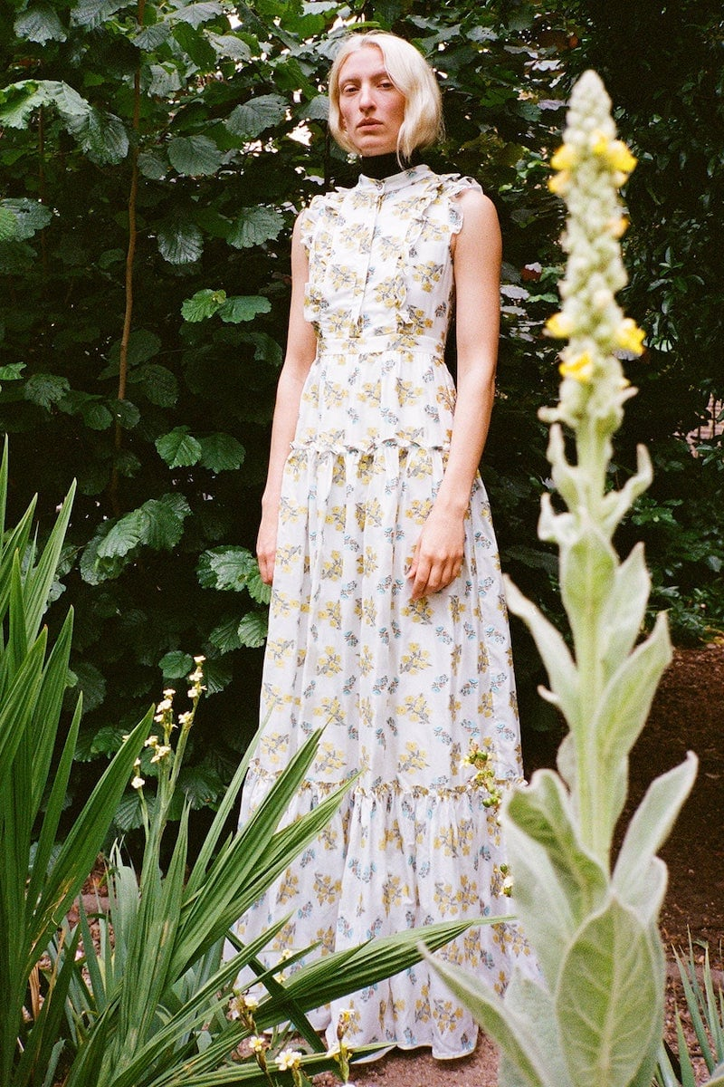 Erdem Ava Tiered Floral Fil Coupé Gown