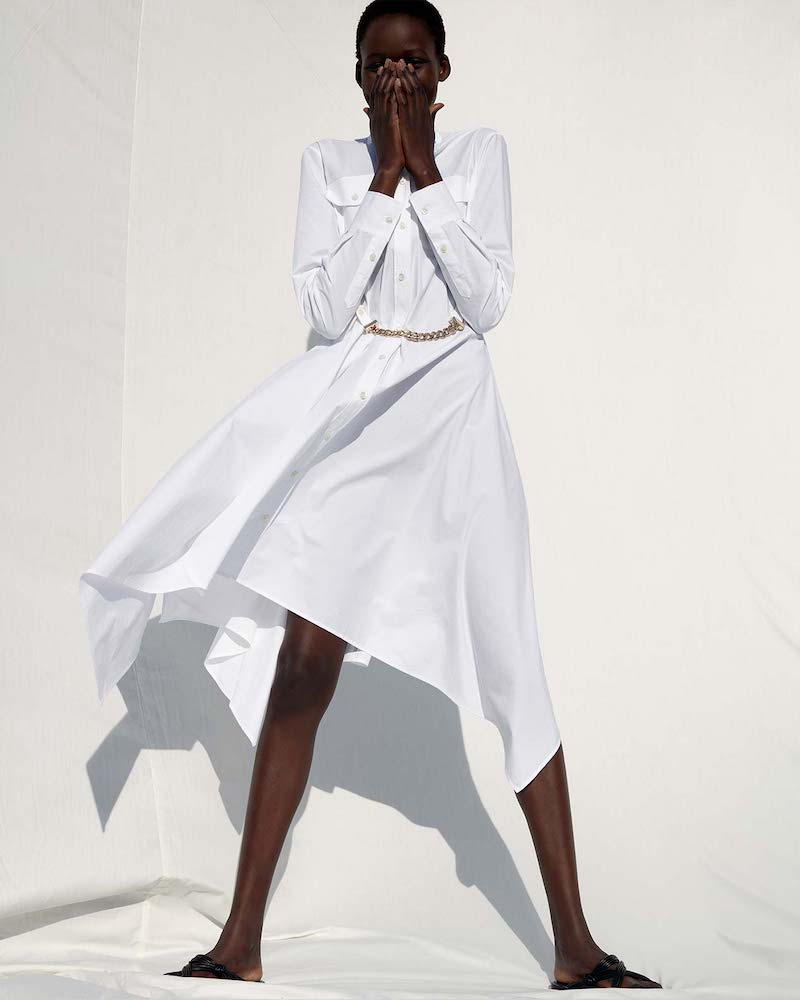 JW Anderson Handkerchief-Hem Cotton-Poplin Shirt Dress