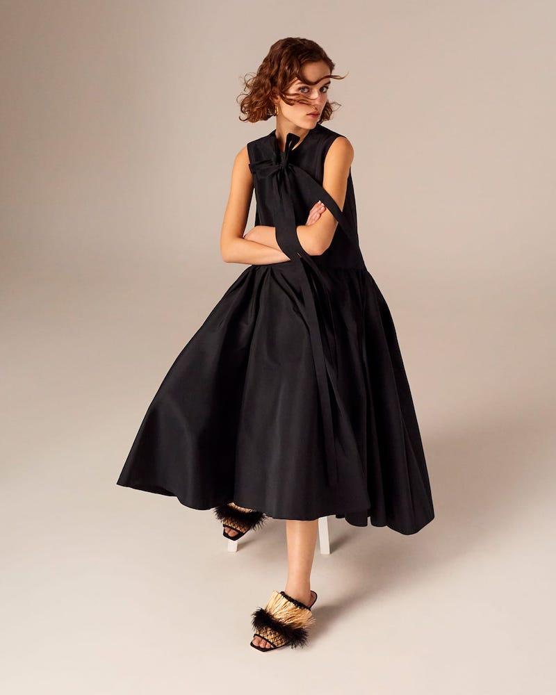 Rochas Bow-Embellished Faille Midi Dress