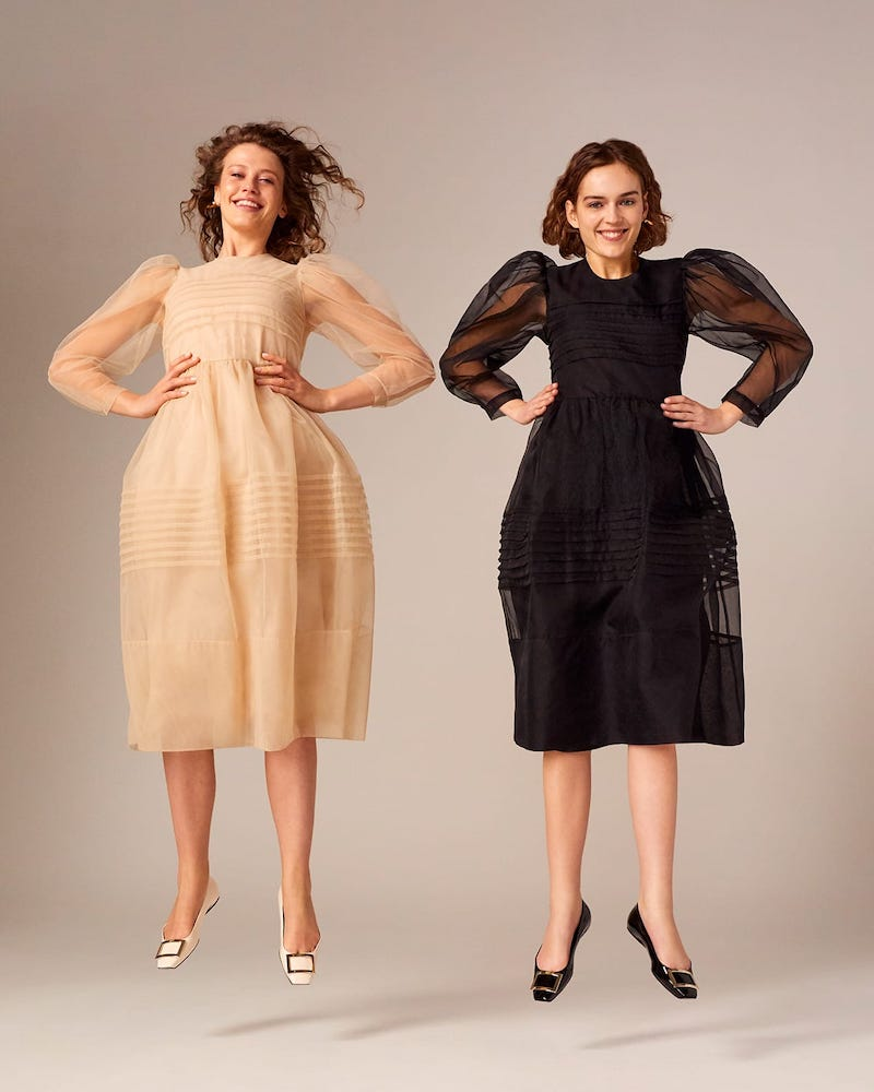 Simone Rocha Pintuck-Pleated Tulle Midi Dress