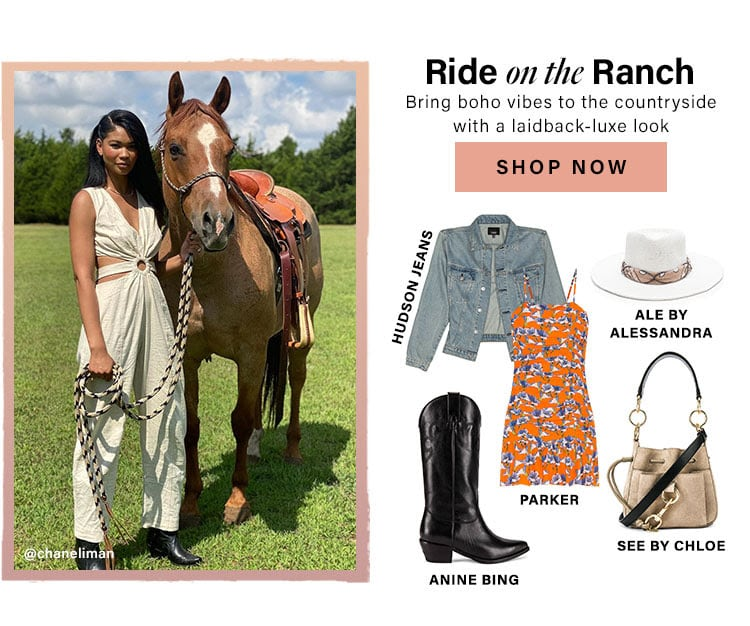 Ride on the Ranch. Bring boho vibes to the countryside with a laidback-luxe look. Shop Now.