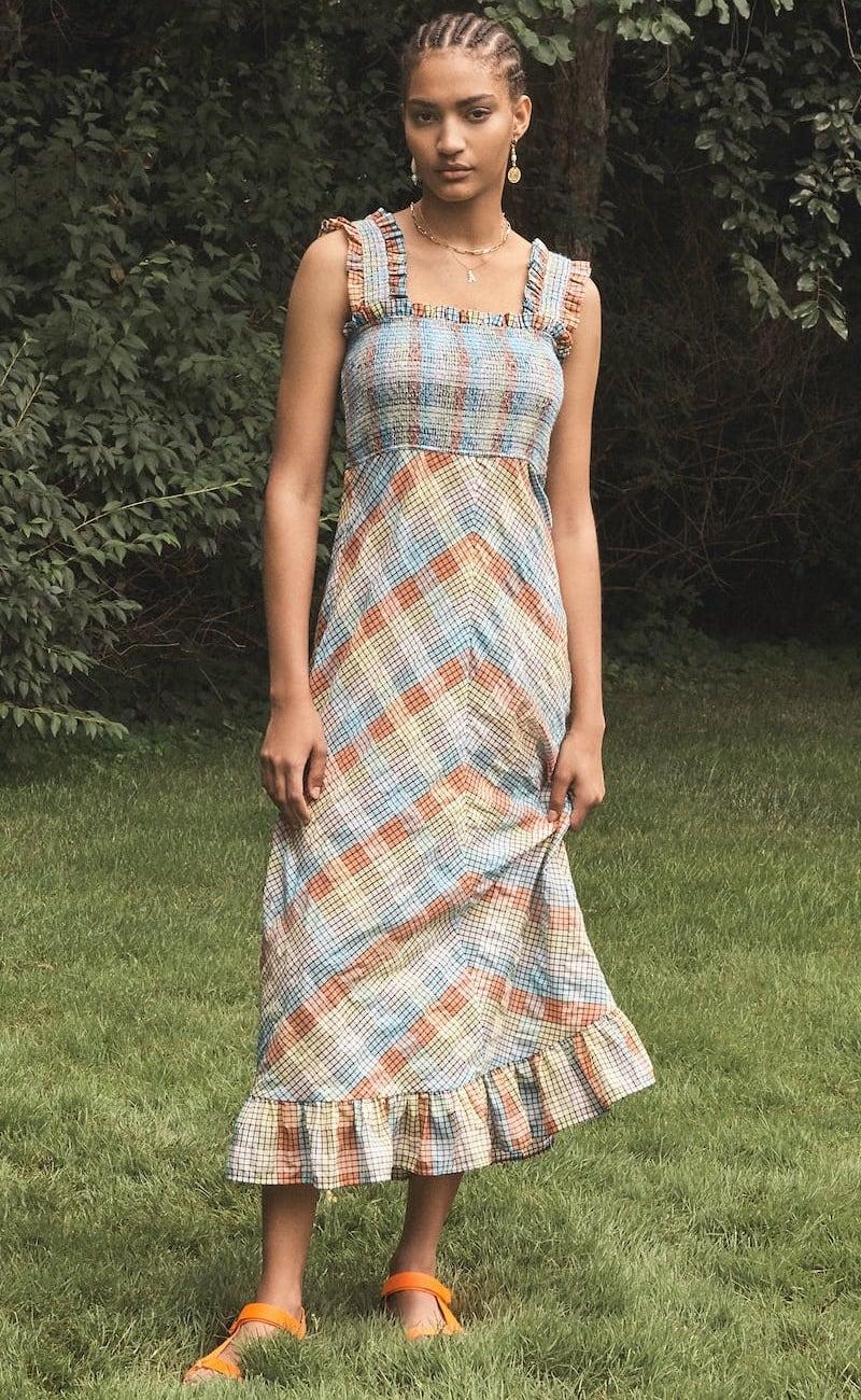 GANNI Seersucker Check Sleeveless Dress