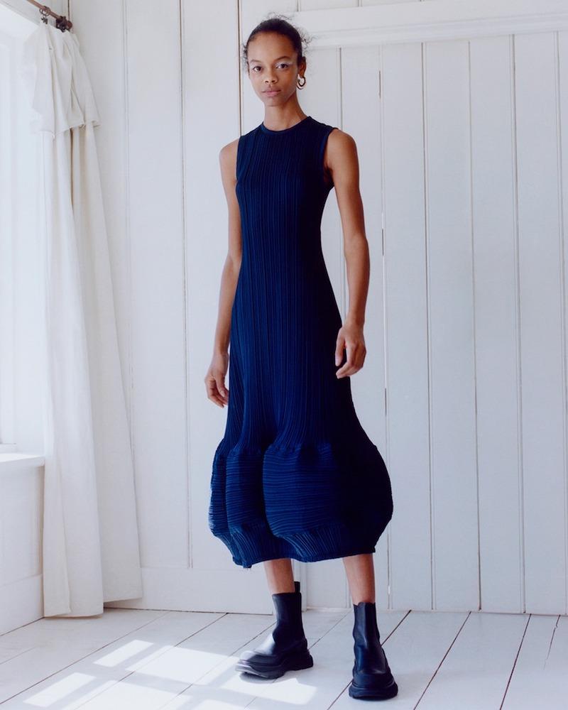 JW Anderson Plissé-Crepe Midi Dress