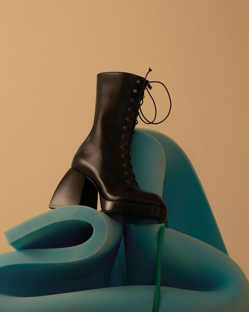 Nodaleto Lace Up Leather Platform Boots