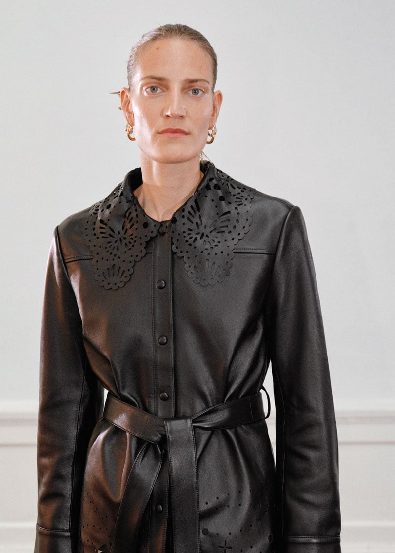 & Other Stories Belted Laser Cut Leather Jacket