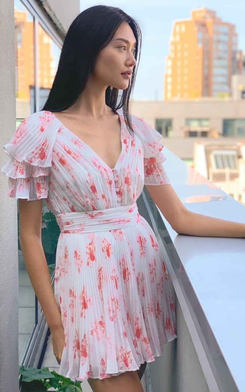 Self-Portrait Floral Print Chiffon Mini Dress