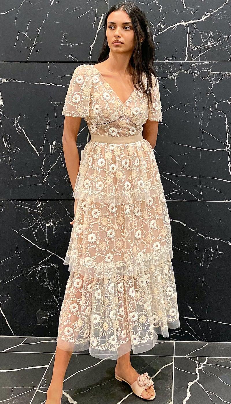 Self-Portrait Flower Sequin Puff Sleeved Midi Dress