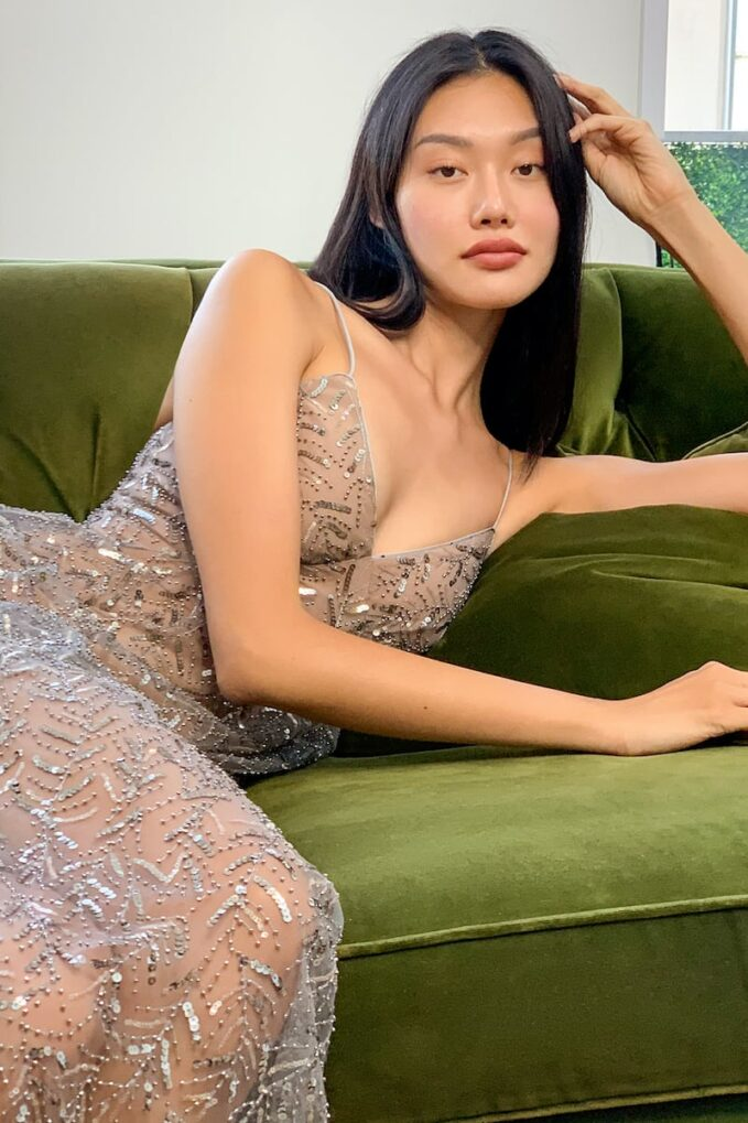 Self Portrait Leaf Sequin Ruffle Maxi Dress