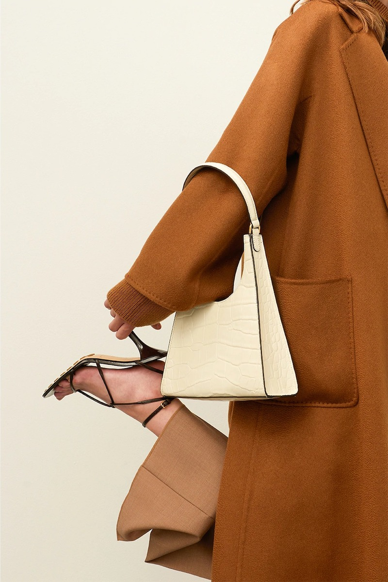 Staud Rey Croc Embossed Leather Shoulder Bag