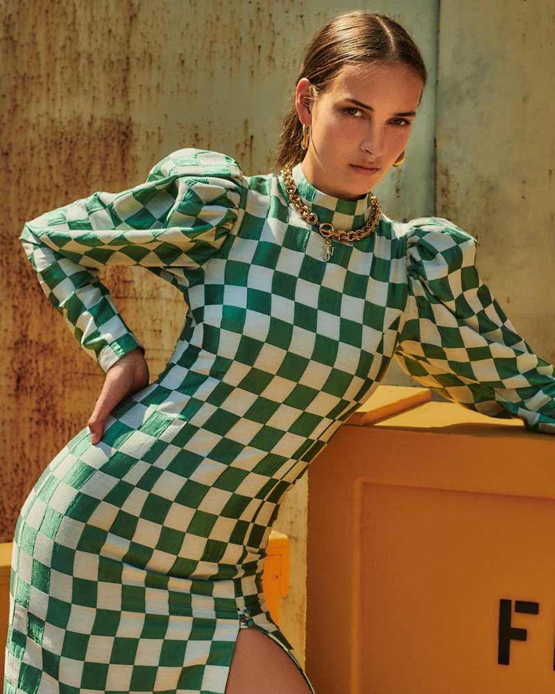 ROTATE Birger Christensen Theresa Checked Jacquard Midi Dress