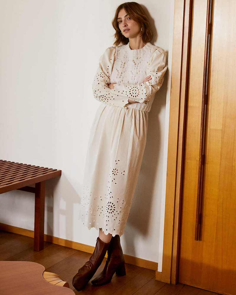 Sea Fern Eyelet Combo Sweater Dress