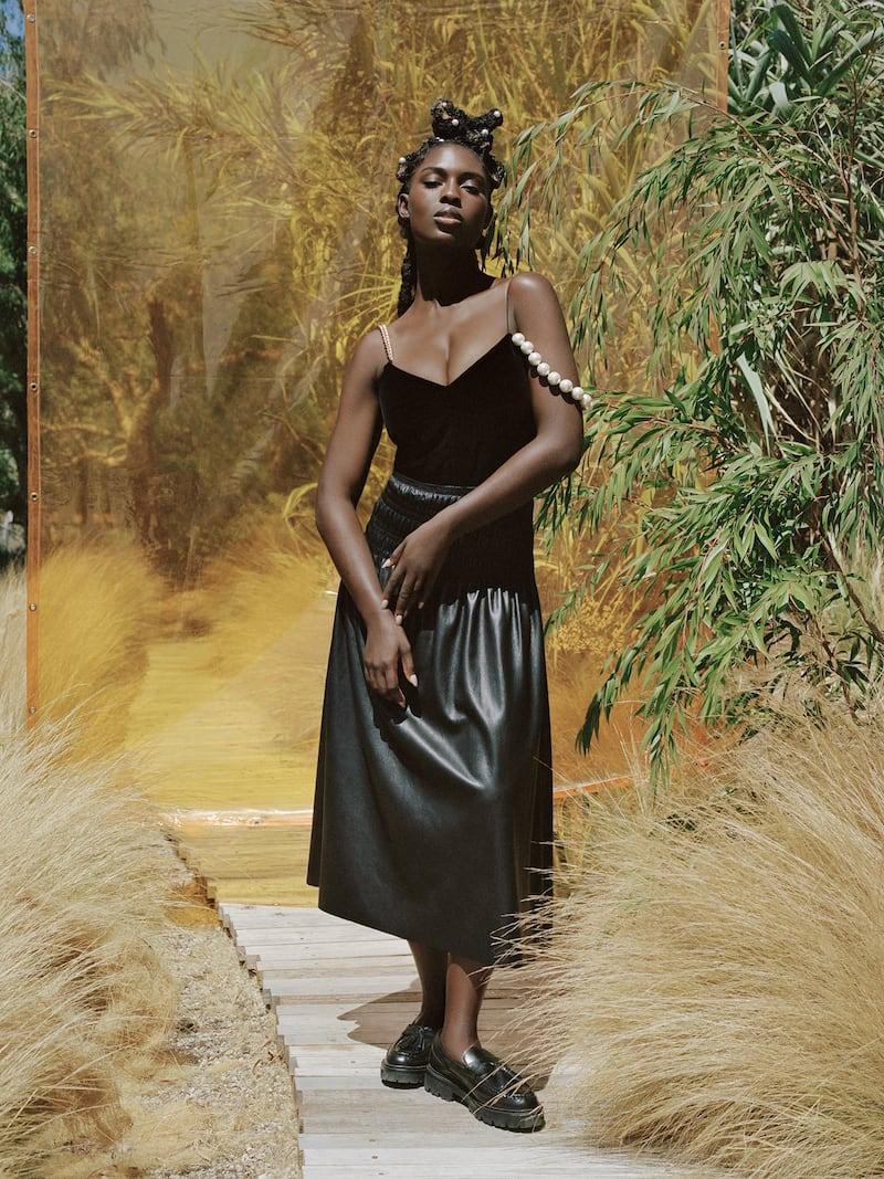 Self-Portrait Shirred Faux Leather Midi Skirt