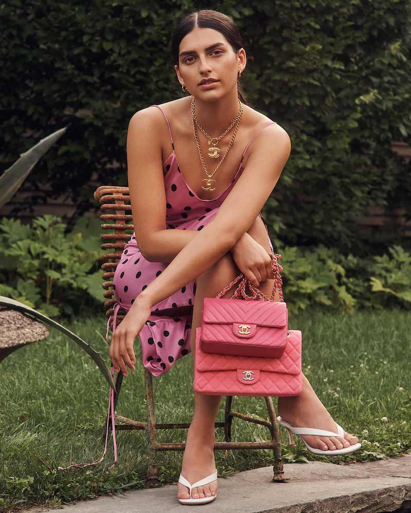 What Goes Around Comes Around Chanel Pink Lambskin Chevron Flap Bag