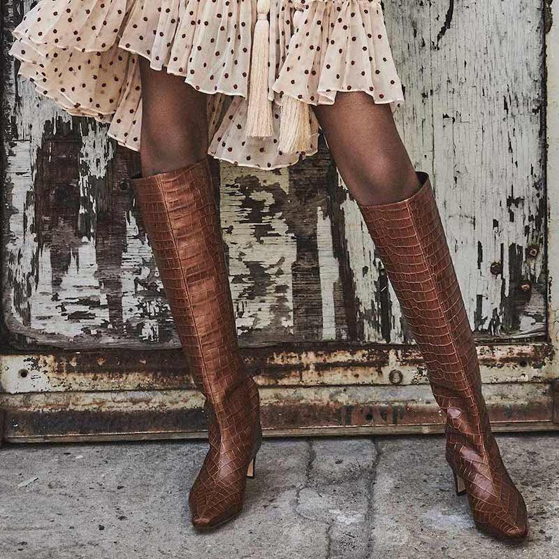Zimmermann Croc-Embossed Leather Knee Boots