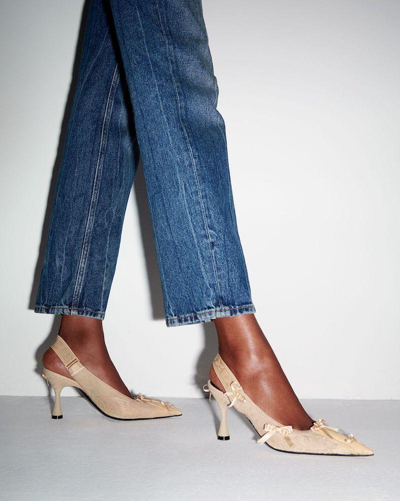 Balenciaga Bow-Adorned Slingback Heels