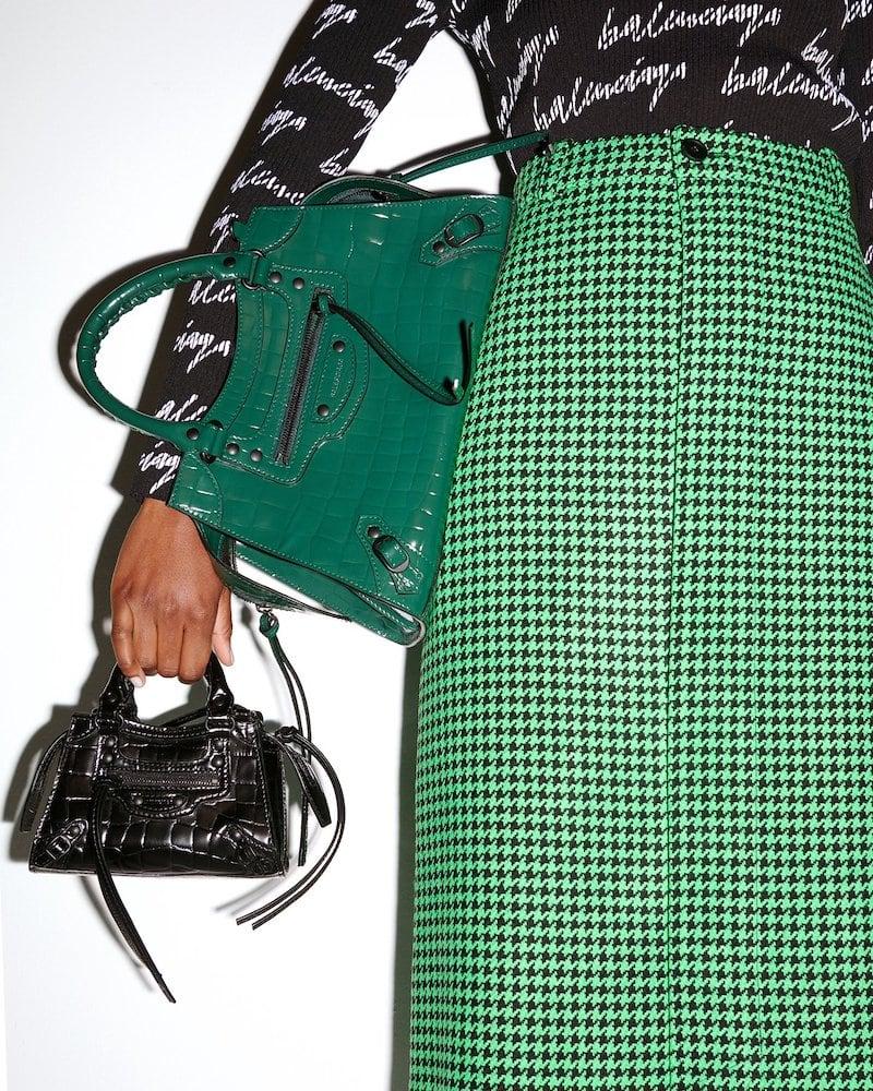 Balenciaga Neo Classic Small Crocodile-Effect Leather Bag