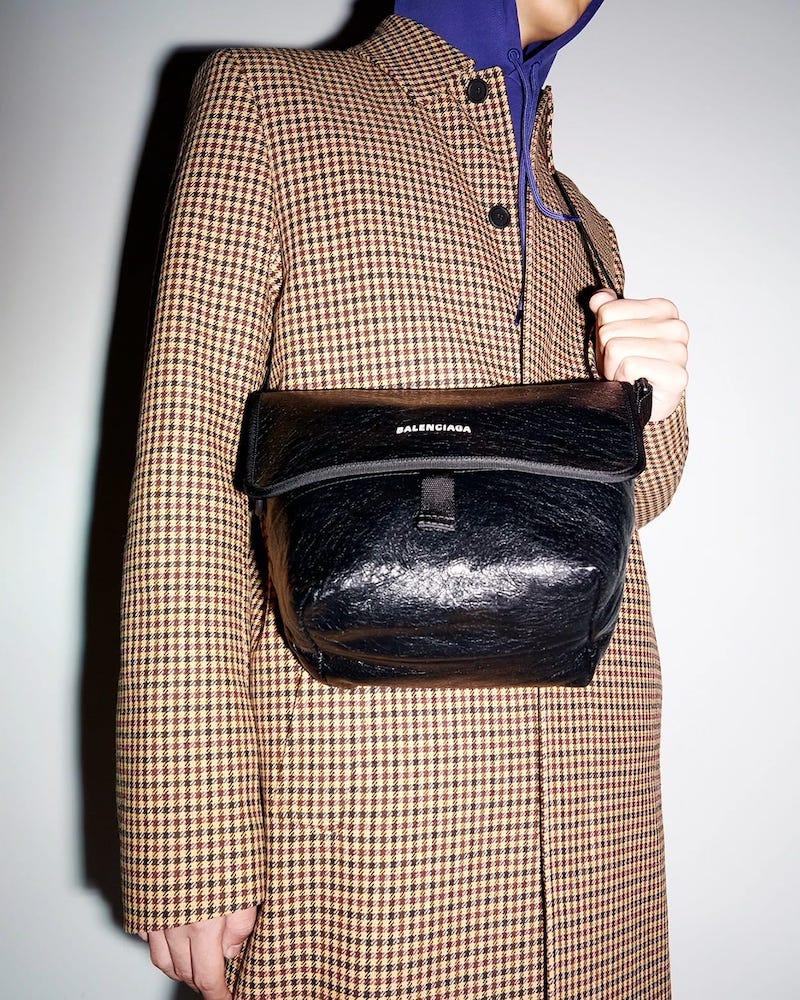 Balenciaga Oversized Houndstooth-Check Long Coat