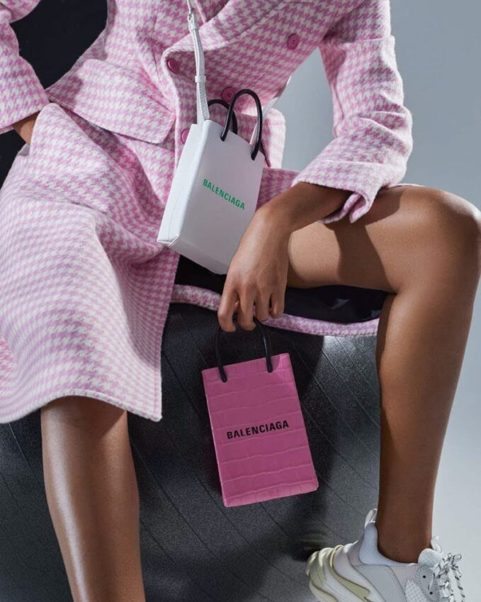 Balenciaga Shopping Phone Pouch Leather Tote in Pink
