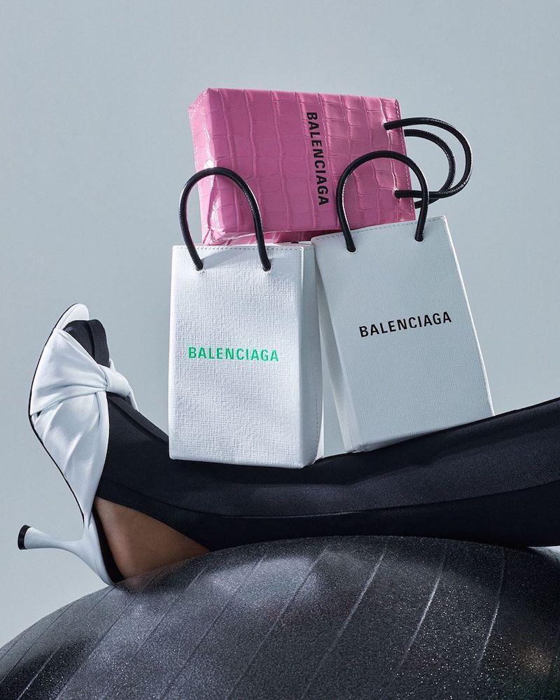 Balenciaga Shopping Phone Pouch Leather Tote