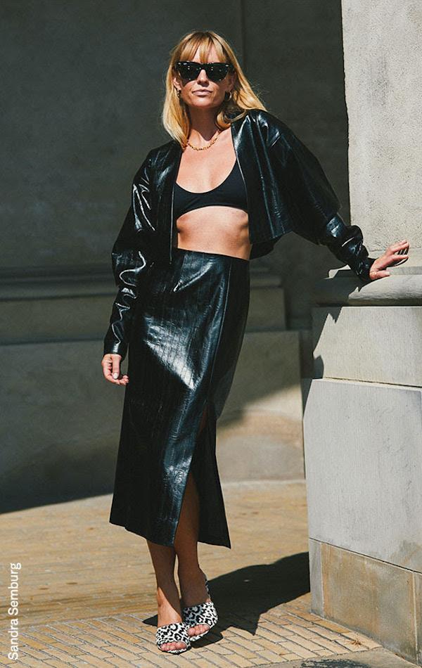 Gucci Lizard-Effect Leather Midi Skirt