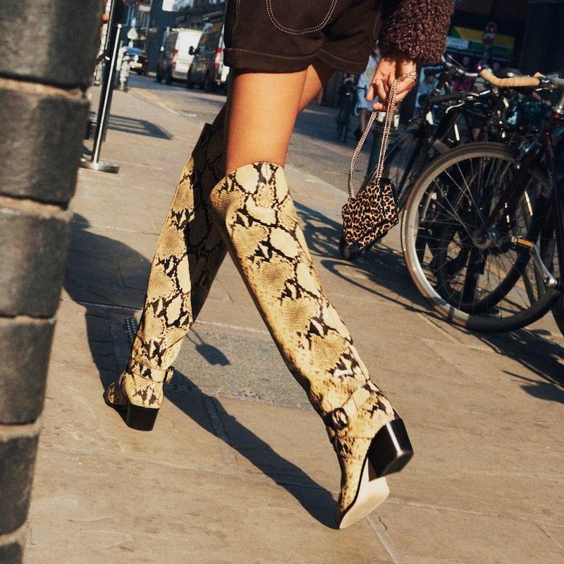 JIMMY CHOO BECA OTK 45 Dijon Snake Printed Leather Over-the-Knee Boots