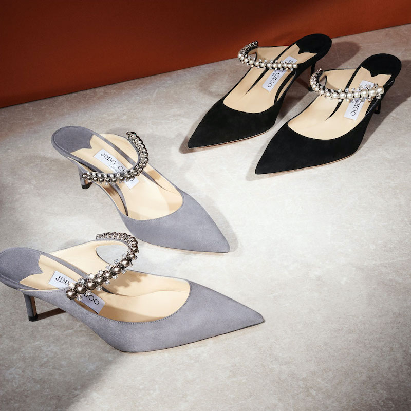JIMMY CHOO BING 65 Dusk Suede Mules With Crystal and Pearl Strap