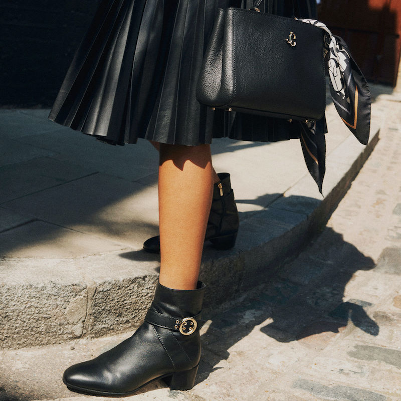JIMMY CHOO BLANKA 40 Black Smooth Leather Ankle Boots With Buckle