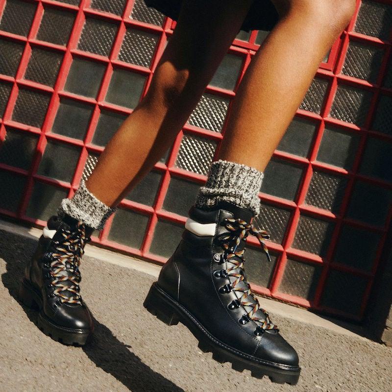 JIMMY CHOO ESHE Flat Black Smooth Leather and Latte Nappa Hiking Boots