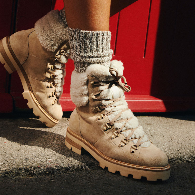 JIMMY CHOO ESHE Flat Shearling Stucco Suede Hiking Boots With Natural Shearling Collar
