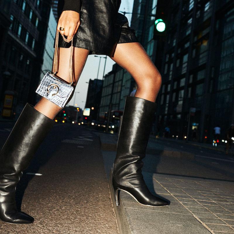 JIMMY CHOO MAHESA 85 Black Shiny Calf Leather Knee-High Boots