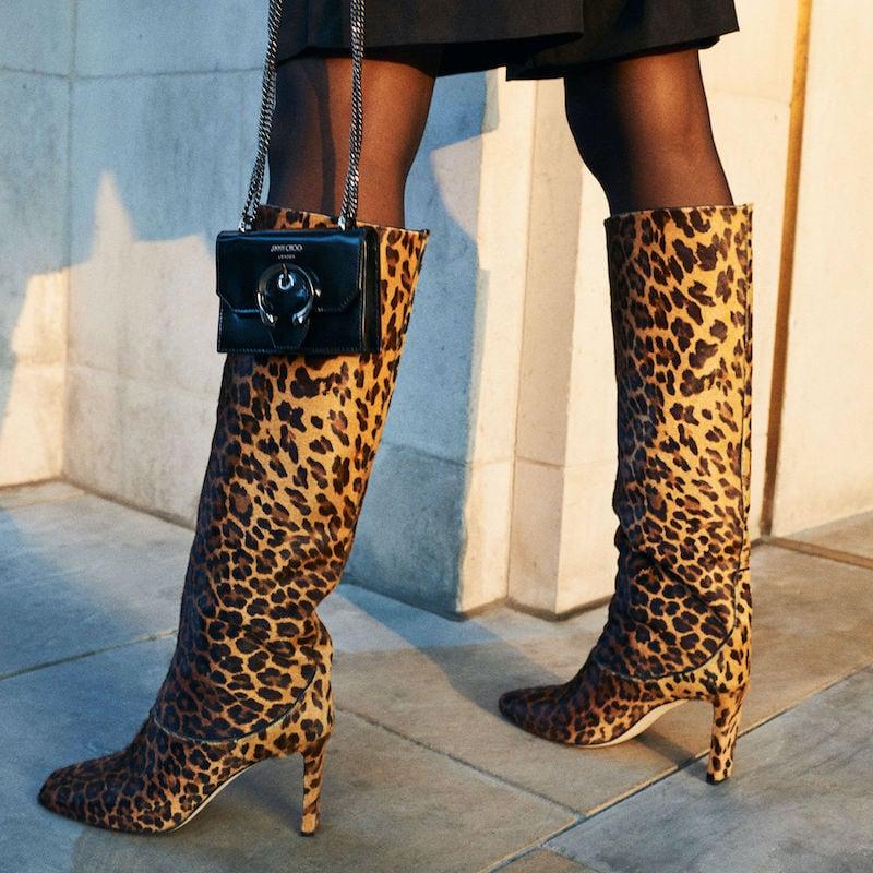 JIMMY CHOO MAHESA 85 Natural Mix Degrade Leopard Print Pony Knee-High Boots