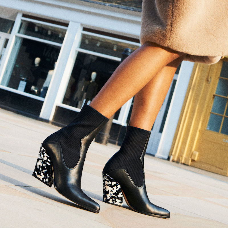 JIMMY CHOO MELE 85 Black Calf Leather and Knitted Ankle Boots With Marble Heel
