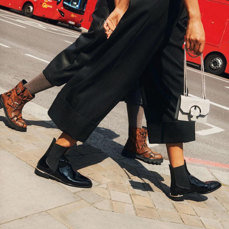 JIMMY CHOO ROURKE Flat Black Shiny Naplack Ankle Boots
