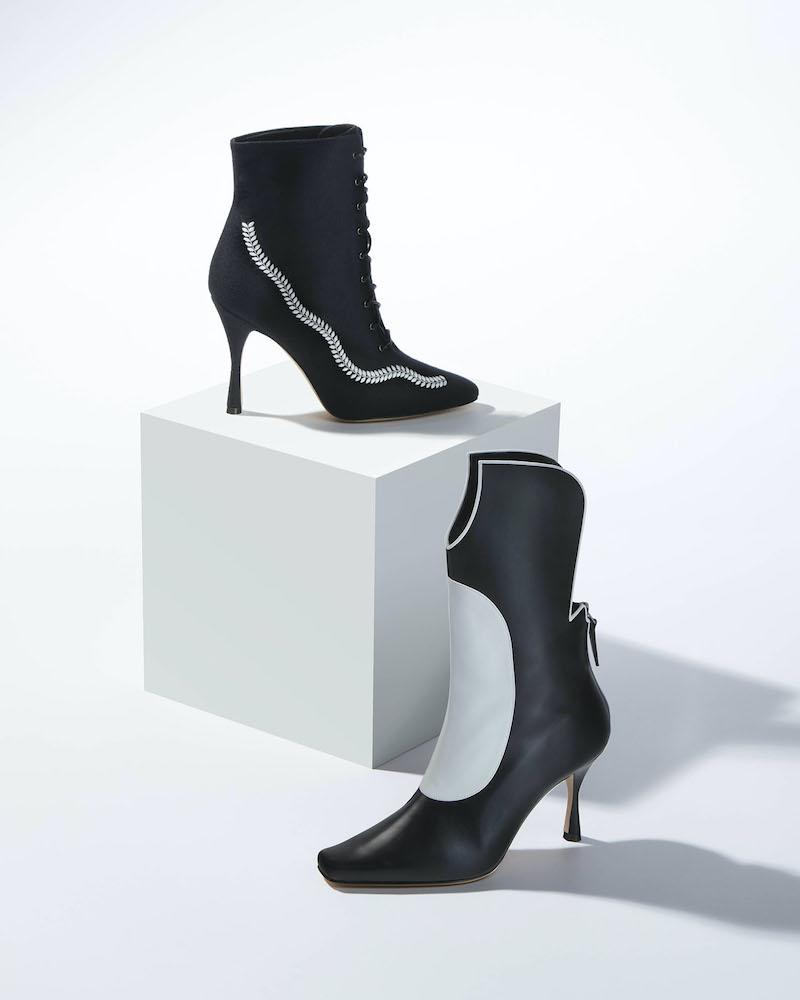 Manolo Blahnik Sambona Two-Tone Leather Boots