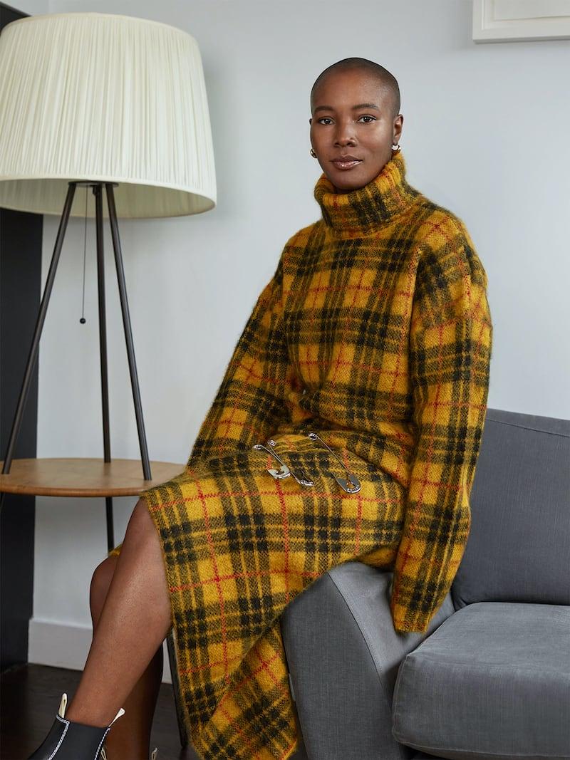 Monse Asymmetric Embellished Checked Knitted Skirt