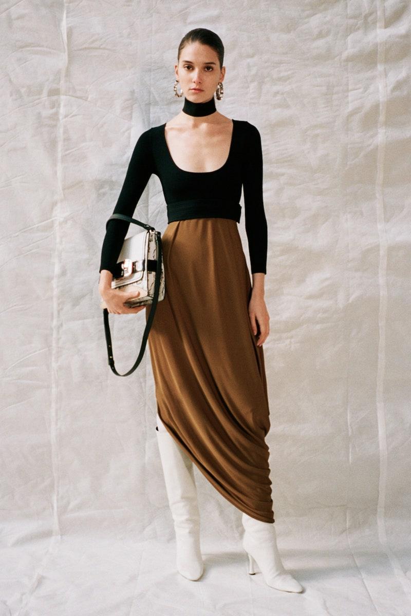 Proenza Schouler Draped Two-Tone Jersey Midi Dress
